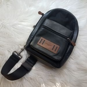 Coach Bags - COACH Black & Brown Leather Single Strap Backpack